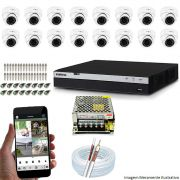 KIT CFTV 16 Câmeras INOVA 3220D 1080p DVR Intelbras Full HD 1080P 16 Canais + Acessórios