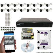 Kit Cftv 16 Câmeras Luxvision 720p Dvr 16 Canais Luxvision ECD 5 em 1 + HD WDP 2TB