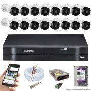Kit Cftv 16 Câmeras VHD 1120B Bullet 720p Dvr 16 Canais Intelbras MHDX + HD WDP 1TB