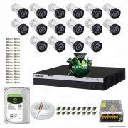 Kit Cftv 16 Câmeras VHD 1220B 1080P 3,6mm DVR Intelbras MHDX 3016 + HD 1TB BARRACUDA