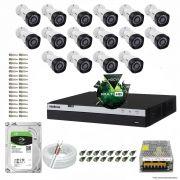 Kit Cftv 16 Câmeras VHD 1220B 1080P 3,6mm DVR Intelbras MHDX 3016 + HD 2TB BARRACUDA