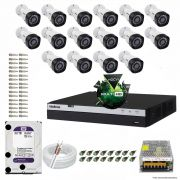 Kit Cftv 16 Câmeras Vhd 1220B 1080P 3,6Mm Dvr Intelbras Mhdx 3116 + Hd 3Tb Wdp