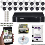 Kit Cftv 16 Câmeras VHD 3120B 720P 2,6mm DVR Intelbras MHDX 1116 + HD 1TB WDP