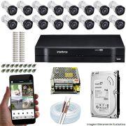 Kit Cftv 16 Câmeras VHD 3120B 720P 2,6mm DVR Intelbras MHDX 1116 + HD 500GB