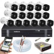 Kit Cftv 16 Câmeras VHD 3120B 720P 2,6mm DVR Intelbras MHDX 1116 + ACESSORIOS