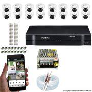 Kit Cftv 16 Câmeras VHD 3120D 720P 2,6mm DVR Intelbras MHDX 1116 + ACESSORIOS