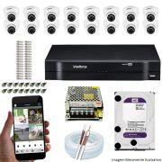 Kit Cftv 16 Câmeras VHD 3120D 720P 2,6mm DVR Intelbras MHDX 1116 + HD 1TB WDP