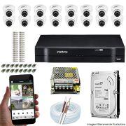 Kit Cftv 16 Câmeras VHD 3120D 720P 2,6mm DVR Intelbras MHDX 1116 + HD 500GB