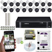 Kit Cftv 16 Câmeras VHD 3130B 720P 3,6mm DVR Intelbras MHDX 1116 + HD 1 TB WDP