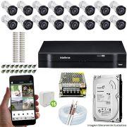 Kit Cftv 16 Câmeras VHD 3130B 720P 3,6mm DVR Intelbras MHDX 1116 + HD 500GB