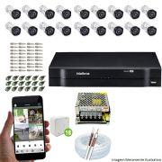 Kit Cftv 18 Câmeras VHD 3130B 720P 3,6mm DVR Intelbras MHDX 1032 + Acessórios
