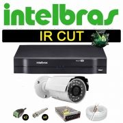 Kit Cftv 1 Câmera Bullet Ir Cut 1500L Dvr 4 Canais Intelbras MHDX + HD 250GB