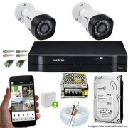 Kit Cftv 2 Câmeras 720p IR BULLET 3130 Dvr 4 Canais Intelbras 5 em 1 + HD 500GB