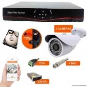 KIT CFTV 2 Câmeras AHD 1.3Mp + DVR 08 Canais NEWPROTEC com HD 1TB