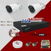 Kit Cftv 2 Câmeras AHD Bullet 720p Dvr 4 Canais Luxvision 5 em 1 + ACESSORIOS