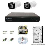 Kit Cftv 2 Câmeras AHD Bullet 720p Dvr 4 Canais Luxvision 5 em 1 + HD 1TB