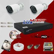 Kit Cftv 2 Câmeras AHD Bullet 720p Dvr 4 Canais Luxvision 5 em 1 + HD 500GB