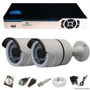 KIT CFTV 2 Câmeras AHD Infravermelho + DVR 4 canais 5 em 1 com HD 320 GB Completo