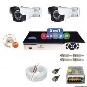 Kit Cftv 2 Câmeras AHD-M 2.0MP 720p 3,6mm DVR 4 Canais Newprotec + ACESSORIOS