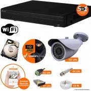 Kit Cftv 2 Câmeras AHD-M 7007 1.3MP 720P 3,6MM Dvr 4 Canais Visionbras XVR 720p + HD 1 TB