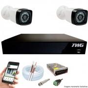 Kit Cftv 2 Câmeras AHD-M 720p Dvr 4 Canais 5 em 1 HD + Acessórios
