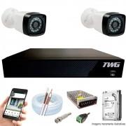 Kit Cftv 2 Câmeras AHD-M 720p Dvr 4 Canais 5 em 1 HD + HD  1 TB