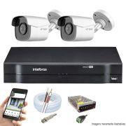 Kit Cftv 2 Câmeras AHD-M 720p Dvr 4 Canais MHDX Intelbras 5 em 1 + Acessórios