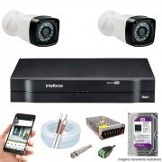 Kit Cftv 2 Câmeras AHD-M 720p Dvr 4 Canais MHDX Intelbras 5 em 1 + HD 1TB