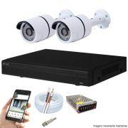 Kit Cftv 2 Câmeras AHD-M 720P Dvr 4 Canais Visionbras XVR 720p + Acessórios