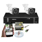 Kit CFTV 2 Câmeras Bullet TWG DVR Intelbras MHDX 1104 + Acessórios