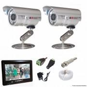 KIT CFTV 2 Câmeras CCD Infravermelho 1200 TVL 3,6MM + Monitor 7