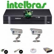KIT CFTV 2 Câmeras CCD Infravermelho 1200 TVL  DVR 4 Canais Intelbras MultiHD + Acessórios