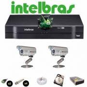 KIT CFTV 2 Câmeras CCD Infravermelho 1200 TVL  DVR 4 Canais Intelbras MultiHD + HD 500 GB