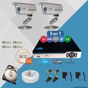Kit Cftv 2 Câmeras CCD Infravermelho 3,6MM 1200L Dvr 4 Canais Newprotec + HD 500GB