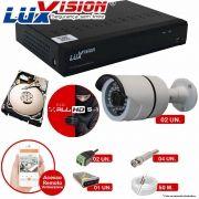 Kit Cftv 2 Câmeras IR Bullet AHD-M 720p 3,6MM Dvr 4 Canais Luxvision + HD 500GB