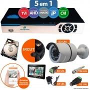 KIT CFTV 2 Câmeras IR CUT DVR 8 Canais 5 em 1 + HD 320 GB + Monitor 7'