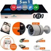 Kit Cftv 2 Câmeras Ir Cut Infravermelho 1500L Dvr 4 Canais Newprotec 5 em 1 HD 250GB