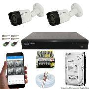 Kit Cftv 2 Câmeras Luxvision 720p Dvr 4 Canais Luxvision ECD 5 em 1 + HD 500GB