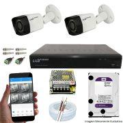 Kit Cftv 2 Câmeras Luxvision 720p Dvr 4 Canais Luxvision ECD 5 em 1 + HD WDP 2TB