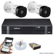 Kit Cftv 2 Câmeras VHD 1010 Bullet 720p Dvr 4 Canais Intelbras MHDX + CABO
