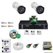 Kit Cftv 2 Câmeras VHD 1010B Bullet 720p Dvr 4 Canais Intelbras MHDX + HD WDP 1TB