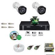 Kit Cftv 2 Câmeras VHD 1120B Bullet 720p Dvr 4 Canais Intelbras MHDX + ACESSÓRIOS