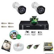 Kit Cftv 2 Câmeras VHD 1120B Bullet 720p Dvr 4 Canais Intelbras MHDX + HD 500GB