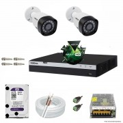 Kit Cftv 2 Câmeras VHD 1220B 1080P 3,6mm DVR Intelbras MHDX 3004 + HD 2TB WDP