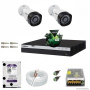 Kit Cftv 2 Câmeras VHD 1220B 1080P 3,6mm DVR Intelbras MHDX 3004 + HD 3TB WDP