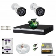 Kit Cftv 2 Câmeras VHD 1220B 1080P 3,6mm DVR Intelbras MHDX 3004 + HD 4TB WDP