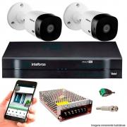Kit Cftv 2 Câmeras Vhd 1220B 1080P 3,6Mm Dvr Intelbras Mhdx 3104 + Acessórios