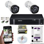 Kit Cftv 2 Câmeras VHD 3120B 720P 2,6mm DVR Intelbras MHDX 1104 + HD 1TB WDP