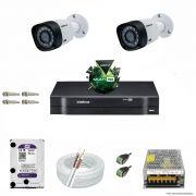 Kit Cftv 2 Câmeras VHD 3120B 720P 2,6mm DVR Intelbras MHDX 1004 + HD 2TB WDP