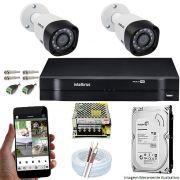 Kit Cftv 2 Câmeras VHD 3120B 720P 2,6mm DVR Intelbras MHDX 1104 +HD 500 GB